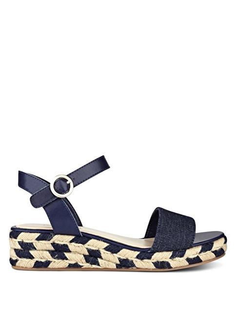 Nine West Dolgu Topuklu Hasır Sandalet Lacivert